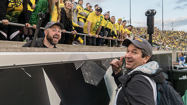 UO360 - Brad and Thomas filming the game