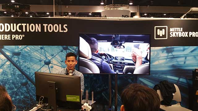 Tobias Chen giving a talk at Mettle's booth NAB 2016